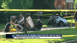 Teen killed in high speed crash, car split in half - Video