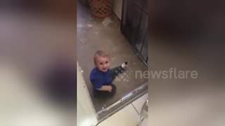 Adorable baby thinks he is a dog - Video