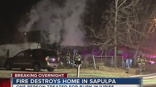 Home destroyed by early morning fire in Sapulpa - Video