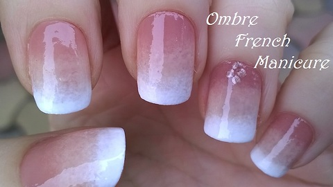 Ombre French manicure: Faded sponge nail art tutorial