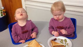 Twin Babies Doze Off After Lunch - Video