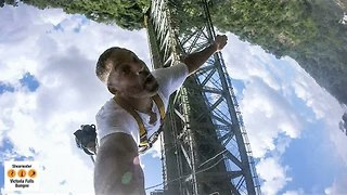 Will Smith Bungee Jumps Holding GoPro at Victoria Falls - Video