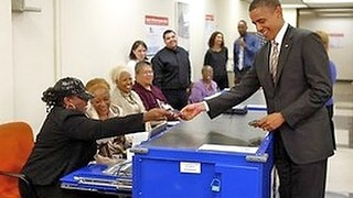 Obama gets asked for voter ID - Video