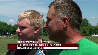Witnesses describe seeing blimp crash near U.S. Open Golf Tournament - Video
