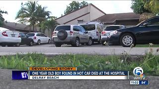 1-year-old Delray Beach boy found in hot car dies