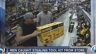 Men caught stealing tool kit from store - Video