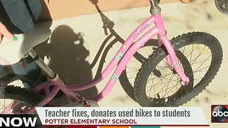 Teacher fixes, donates used bikes to students - Video