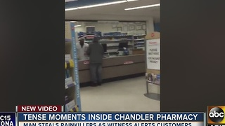 Man tries to rob pharmacy of painkillers - Video