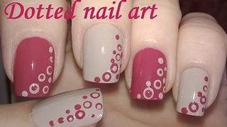 Pale pink & light brown dotting tool nail design - Video