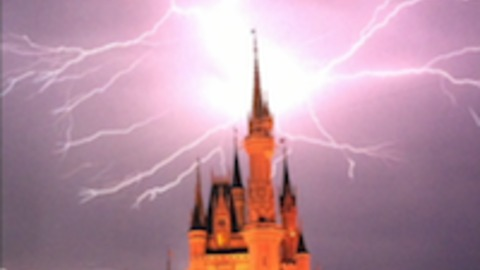 Lightning strikes Cinderella's Castle at Disney World