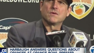 Jim Harbaugh's Orange Bowl press conference included questions about... oranges - Video