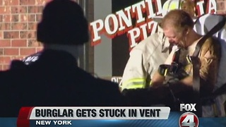 Burglar gets stuck in vent - Video