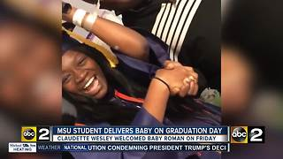 Morgan State student delivers baby on graduation day; family holds ceremony at the hospital - Video
