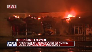 Fire crews battling flames at Nortel Lanes bowling alley in Monroe - Video