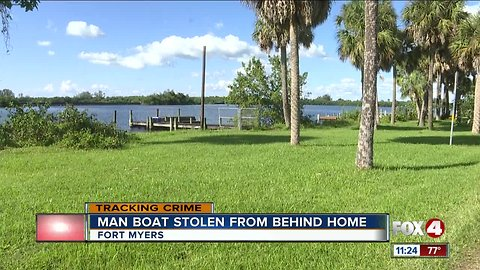 A man's boat is stolen from backyard, gas lines weren't attached