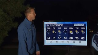 Windy with scattered showers for Thursday as a cold front moves in