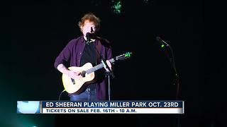 Ed Sheeran schedules show at Miller Park this Fall - Video