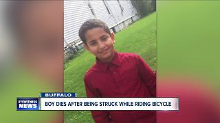 Boy dies after being struck while riding bike