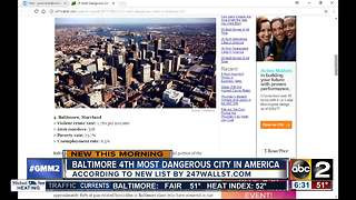 Baltimore ranked 4th most dangerous city in America