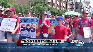 Organizations help #RedForEd supporters stay safe in heat - Video