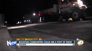 Mountain communities could see foot of snow - Video