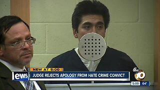 Judge rejects apology from hate crime convict