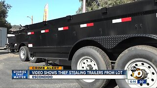 Video shows thief stealing trailers from lot