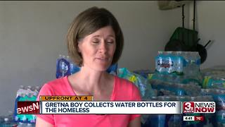 Community helps 11-year-old Gretna boy collect, deliver 7,500 bottles of water for homeless - Video