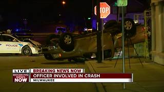 West Allis Police squad car, pick-up truck involved in serious accident at 91st and National - Video