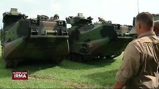 Marine Corps evacuated from Gandy now stationed outside Raymond James Stadium - Video