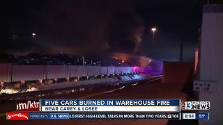 5 cars burned in North Las Vegas warehouse fire - Video