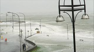 Storm Ophelia floods Salthill promenade in Galway