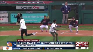 Baker Mayfield misses strike zone with first pitch at Cleveland Indians game