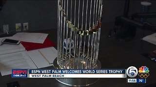 World Series Trophy Visits ESPN West Palm - Video
