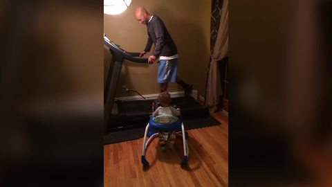 Baby Girl Cries When Her Father Gets Off A Treadmill