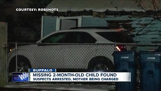 Missing 2-month-old child found, suspects arrested, mother being charged