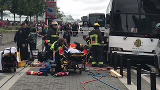Four Injured After Bus Crashes in Vancouver, Pinning Pedestrians Underneath - Video
