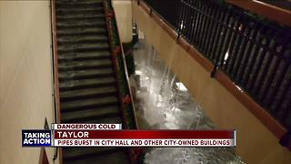 Taylor cleaning up after pipes burst in municipal buildings - Video
