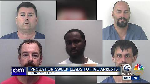 Probation Sweep leads to 5 arrests