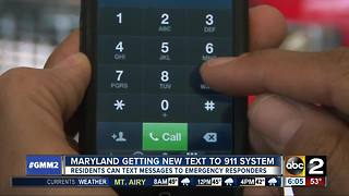New text to 911 system in Maryland - Video