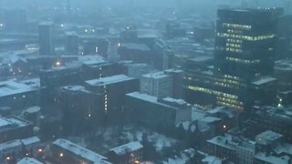 Aerial View Shows Manchester Covered in Snow - Video