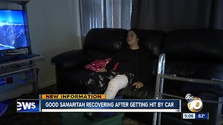 Good Samaritan recovering after getting hit by car