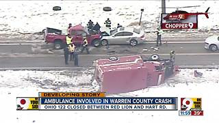 Pickup truck crashes into Lebanon ambulance carrying patient on state Route 122 in Warren County - Video