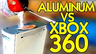 Pouring molten aluminum on an XBOX 360 - Video