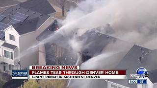 No injuries after Denver home goes up in flames in southwest neighborhood - Video