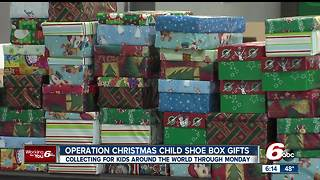 Shoe boxes filled with gifts package for children in need - Video