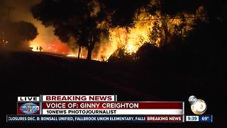 Flames soar as Lilac Fire tears through North County - Video