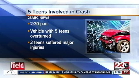 Five teenagers injured in single-vehicle crash