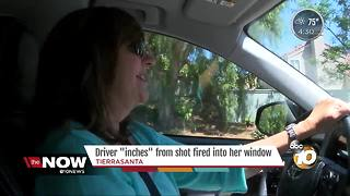 "Driver ""inches"" from shot fired into her window"