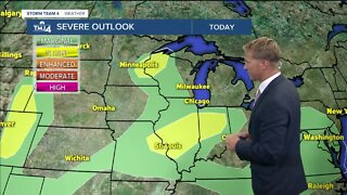 Partly cloudy skies; showers hold off until this evening